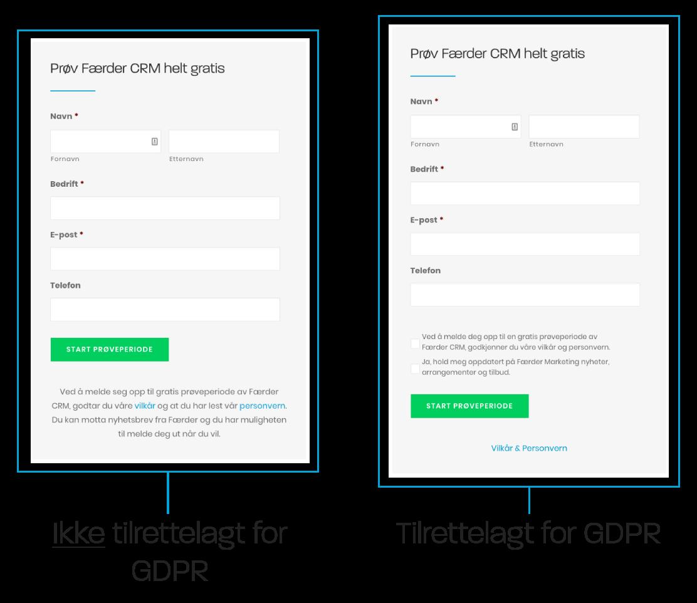 Skjema for e-postmarkedsførere med GDPR