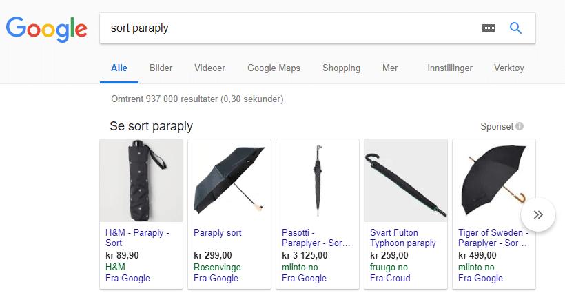 Skjermbilde av Google shopping annonsering